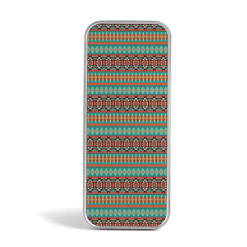 Tin Pencil Case,Native American,with World Famous Arts for Office,Home,Makeup,Accessories Storage,Floral and Geometric Ethnic Tribal Cultural Motif Pattern -