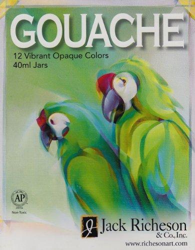 Jack Richeson Gouache Opaque Watercolor Set of 12 Jars