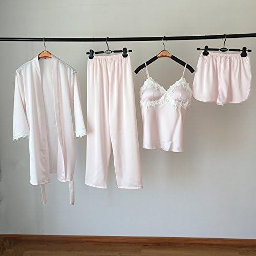 Wanglele El Otoño Hielo Sujetador Camisa De Seda Pijama Pantalones Cortos Traje Túnica De Raso De 4 Piezas Sueltas,M,Luz Rosa: Amazon.es: Hogar