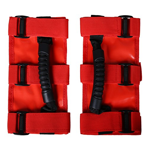 G4Free Jeep Grab Handles 2 Pack, Heavy Duty Unlimited Roll Bar Grab Handles Set, Jeep Wrangler Grab Bar, Easy-to-fit for Off Road Enthusiasts Fits for Jeep(Red) Wrangler JK 2007-2016 BJ40