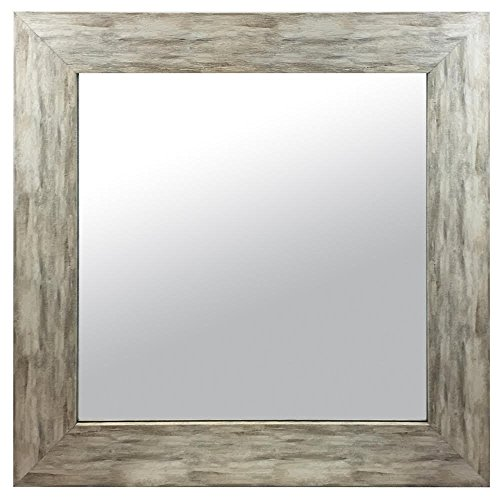 Raphael Rozen , Elegant , Modern , Classic , Vintage , Rustic , Hanging Framed Wall Mounted Mirror, Distressed Wood Finish, Gray - White Color