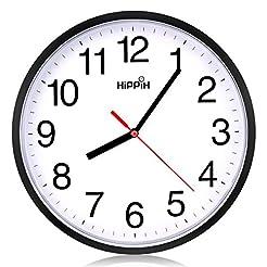Hippih clock Black Wall Clock Silent Non...