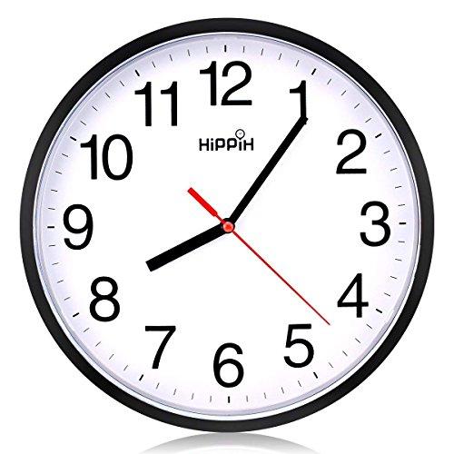 Hippih clock Black Wall Clock Silent Non Ticking Quality Quartz