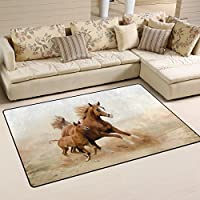 LORVIES Baby Horse And His Mom Area Rug Carpet Non-Slip Floor Mat Doormats for Living Room Bedroom 60 x 39 inches