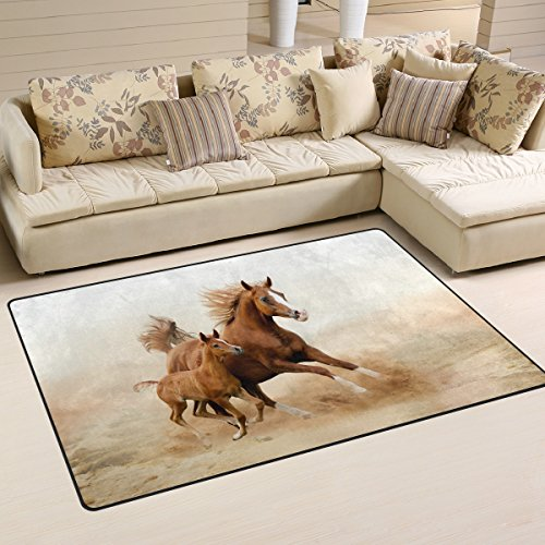 Mom Horse - LORVIES Baby Horse And His Mom Area Rug Carpet Non-Slip Floor Mat Doormats for Living Room Bedroom 60 x 39 inches