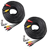 Masione 2 Pack 150 Feet Audio Video Power Security Camera Cables with BNC RCA Connectors for CCTV Home Surveillance Cameras DVR System