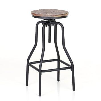Ikayaa Tabouret De Bar Industriel En Pin Et Métal Hauteur Réglable