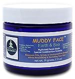 MUDDY FACE (Earth & Sea) Pre-Mixed (Hydrated) Spa Quality Facial Clay Mud Detox Mask, Organic Aloe Vera, Grapeseed Oil, Vit. C, Kelp & Spirulina Seaweed, Minerals, Kaolin & Bentonite Clay, 2.5 oz Jar Review