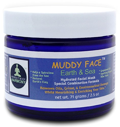 MUDDY FACE (Earth & Sea) Pre-Mixed (Hydrated) Spa Quality Facial Clay Mud Detox Mask, Organic Aloe Vera, Grapeseed Oil, Vit. C, Kelp & Spirulina Seaweed, Minerals, Kaolin & Bentonite Clay, 2.5 oz Jar Review