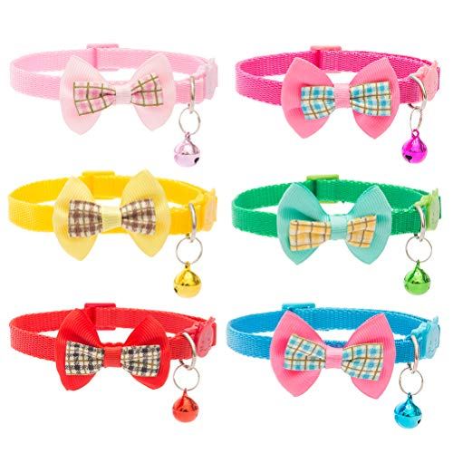 EXPAWLORER Bowtie Adjustable Cat Collars Colorful Nylon Breakaway Safety Pet Collar with Bells Pack of 6 ()