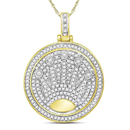 The Diamond Deal 10kt Yellow Gold Mens Round Diamond King Crown Charm Pendant 7/8 Cttw