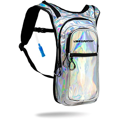 Ride Silver 2 Jacket (Vibedration Holographic Festival Hydration Pack | 2L Water Capacity | Rave Hydration, Festival Fashion, Hiking & Camping (Silver))