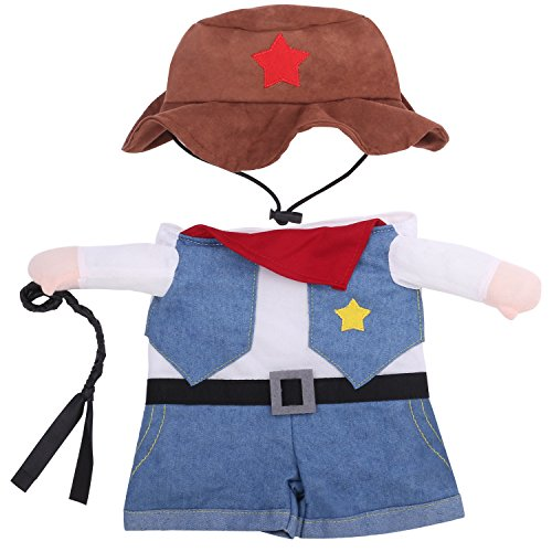 Cowboys Uniforms (Pawaboo Pet Costume, Funny Pet Dog Cat Clothes West Cowboy Uniform Outfit Jumpsuit Clothes with Hat for Halloween Christmas Dressing Up, Large Size, Blue)