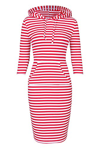Women Hooded Sweatshirt Pullover Stripe Keen Length Kangaroo Pocket Sports Dress (S, Red White) -