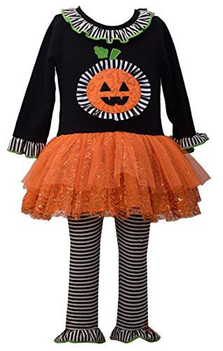 Bonnie Jean Girls' Little Appliqued Knit Tutu Playwear Set, Pumpkin, -