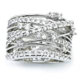 Sinwo Women Elegant Exquisite Diamond Cylindrical Rings Fine Ring Engagement Ring Gift (6, White)