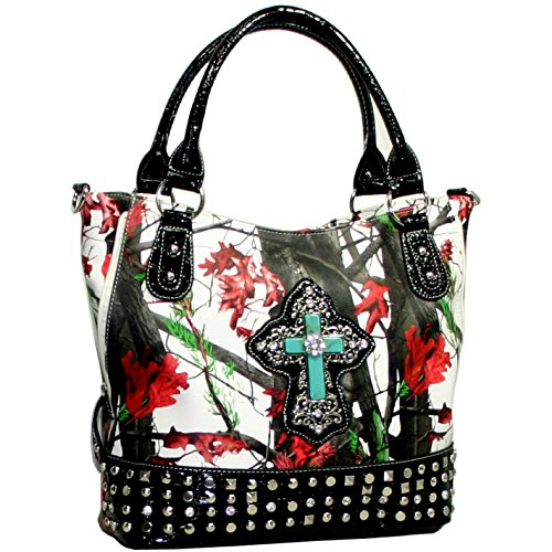 Western Camo Bling Rhinstone Cross Accent Purse Handbag With Black Trim - White/Red/Black