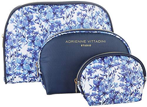 - Adrienne Vittadini 3-pc. Floral Print Dome Travel Bag Set One Size Blue/white