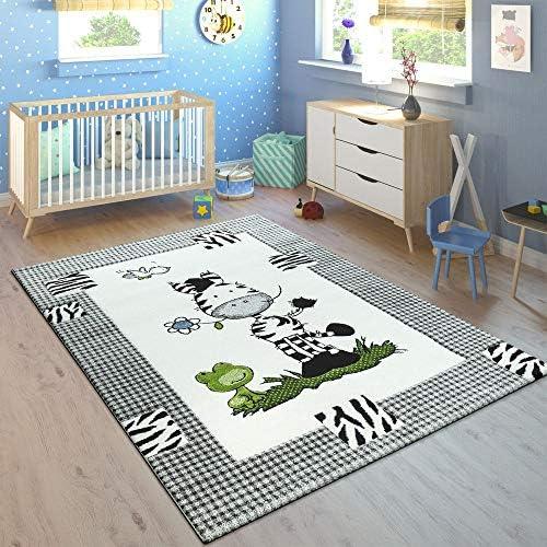 Alfombra Infantil Adorable Zoo Animales Locomotora Selva Efecto 3-D Verde tama/ño:80x150 cm