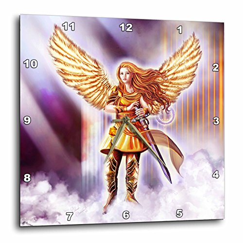 3dRose Dream Essence Designs-Angels - Beautiful Guardian Angel in Armor with clouds and gates of heaven - 15x15 Wall Clock (dpp_262329_3) by 3dRose