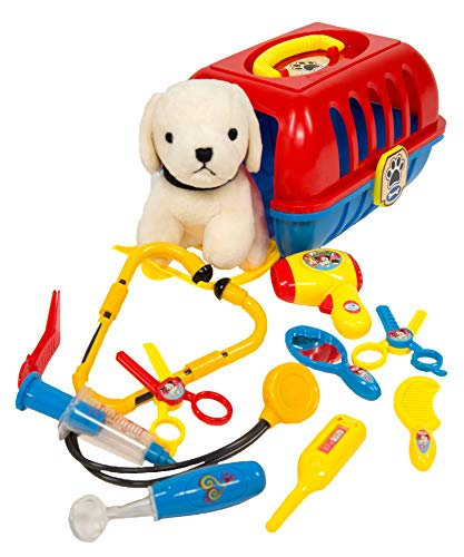 (MMP Living Pet Care Play Set - pet Vet, pet Grooming and pet Travel Crate with Plush Dog - 12pcs)