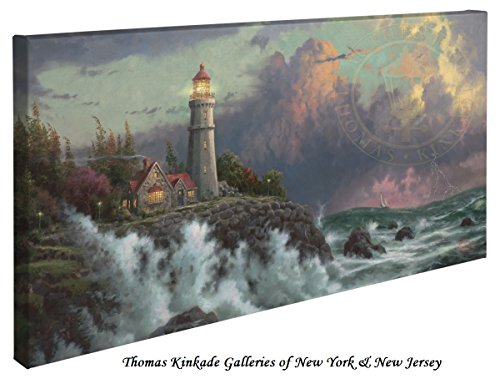 Conquering the Storms - Thomas Kinkade Lighthouse 16'' X 31'' Gallery Wrapped Canvas by Thomas Kinkade wrapped canvas