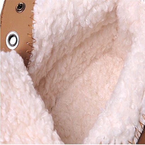 donna scamosciato Plus cashmere pizzo Appartamento con Martin stivali Stivali da neve Tenere caldo slittata all'aperto ufficio Stivaletti /scarpa , khaki , 38