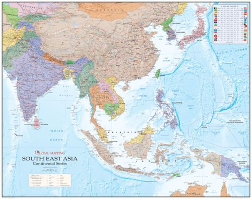 Map Of Asia Over Time.South East Asia Wall Map Wall Maps Amazon Co Uk Global Mapping