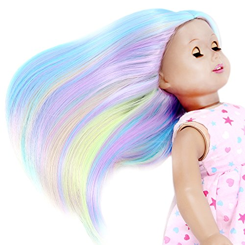 Price comparison product image STfantasy American Girl Doll Wigs Ombre Multicolor Long Straight Lolita Hairpiece