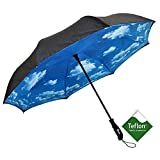 Repel Reverse Folding Umbrella with 2 Layered Teflon Canopy and Reinforced Fiberglass Ribs (Blue Sky)