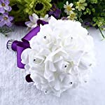 Goodtrade8-Clearance-Wedding-Bouquet-Small-Size-Red-Bridesmaid-Bouquet-Bridal-Bouquet-with-Crystals-Soft-Ribbons-Artificial-Rose-Flowers-for-Wedding-Party-and-ChurchPurple-25x20cm
