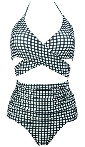 COCOSHIP Castor Gray Gingham & White Black Check Gingham Vintage Ruched High Waist Bikini Set Cross Wrap Top Sport Tie Back Swimsuit 10