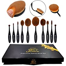 Gift For Her New Professional 10 Pcs Soft Oval Toothbrush Makeup Brush Sets Foundation Brushes Cream Contour Powder Blush Concealer Brush Makeup Cosmetics Tool Set