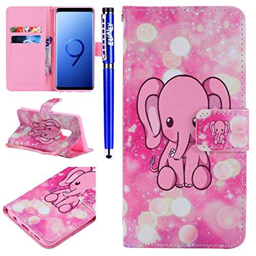 Portefeuille Ultra Cuir mince Samsung De Avec Etui Elephant G plat Ultra Pour S9 Galaxy Bandoulire En Porte Et Pink tui Euwly cartes AwxdIqzB