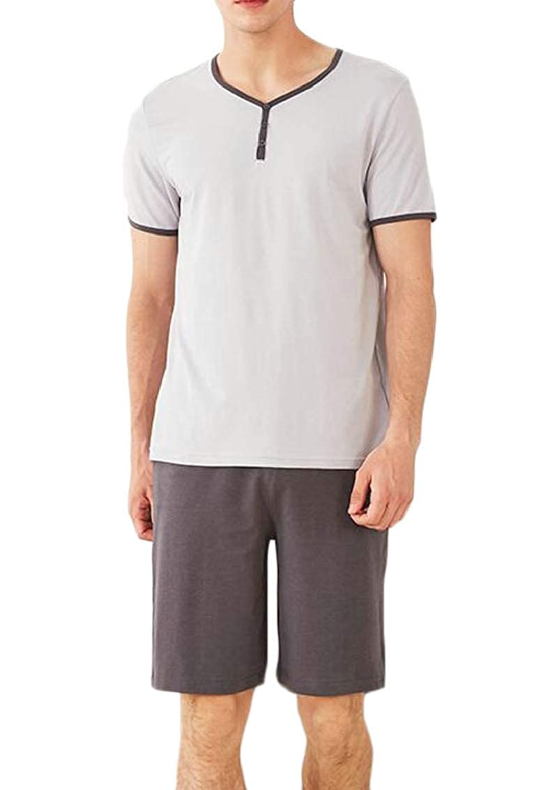Suncolor8 Men Modal Short Sleeve Sleepwear Nightwear Shirt and Shorts Pajama Sets