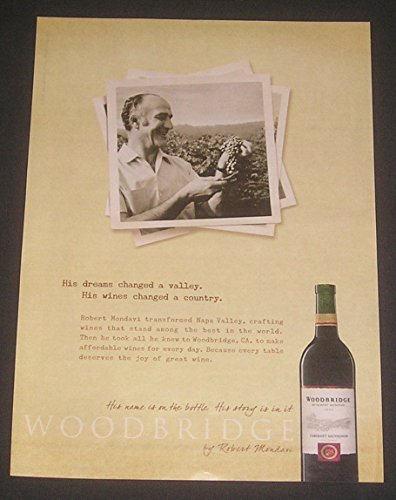Mondavi Winery (2009 Woodbridge Wines MAGAZINE ADVERTISEMENT, California Winery, Robert Mondavi Photo, Founder, Original Print Ad / Collectible Paper Ephemera)