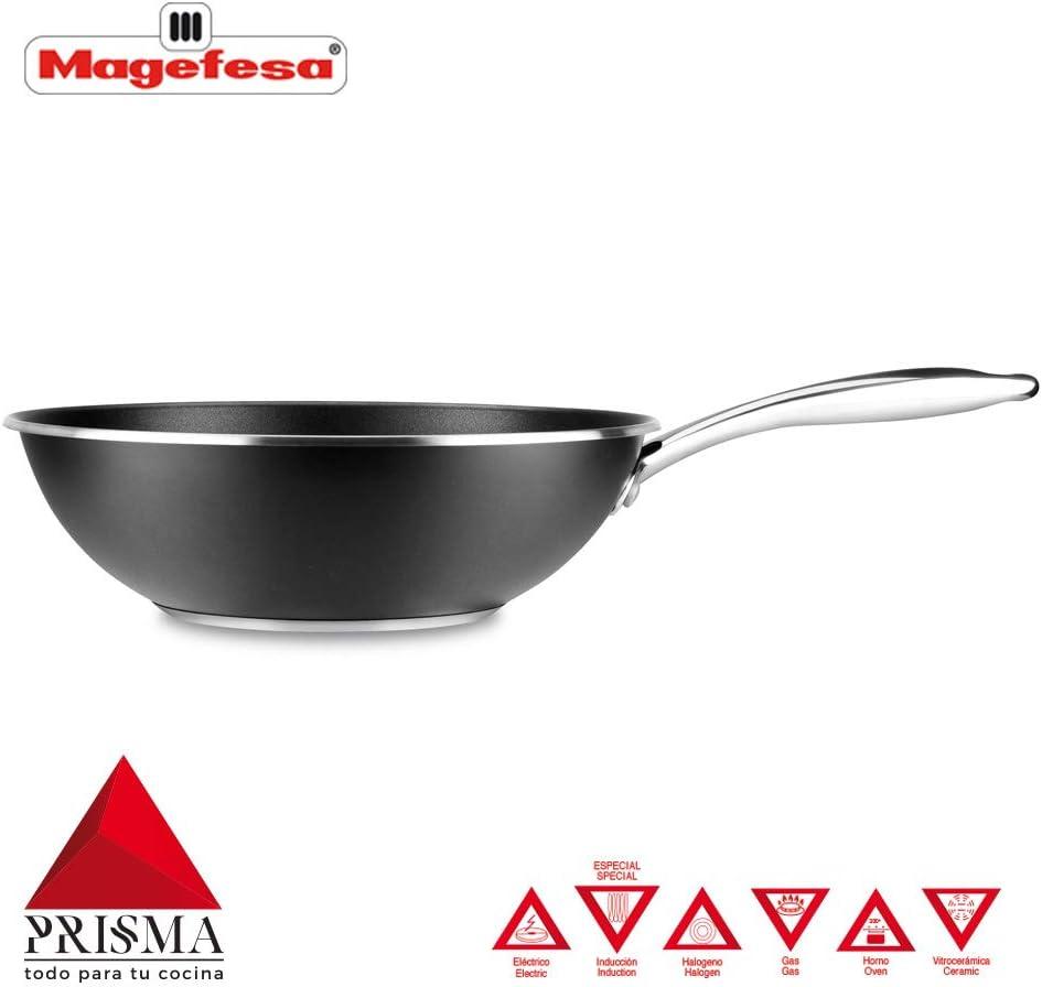 SARTÉN MAGEFESA PRISMA. Sartén fabricada en acero inoxidable 18/10, antiadherente triple capa, apta para todo tipo de cocina, INDUCCIÓN. Fácil Limpieza. Apto para lavavajillas y horno. (SARTEN, 20_cm): Amazon.es: Hogar