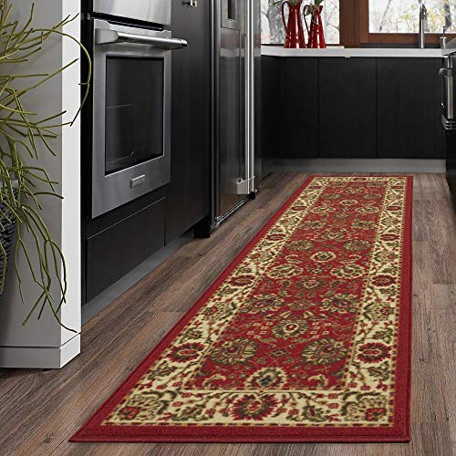 "Ottomanson Ottohome Collection Traditional Persian Oriental Floral Design Non-Skid Rubber Backing Runner Rug, 2'0"" X 7'0"", Dark Red"