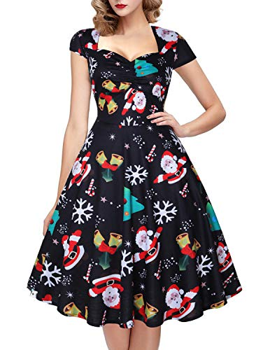 (OTEN Women's Polka Dot Sugar Skull Vintage Swing Retro Rockabilly Cocktail Party Dress Cap)
