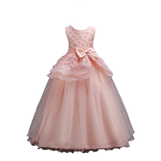 YuanDian Niñas Niños Bowknot Largo Dama De Honor Boda Vestidos Flores Sin Mangas Elegante Ceremonia Elegante