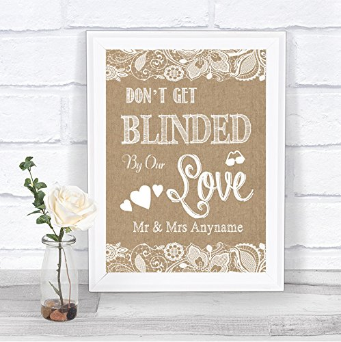Burlap & Lace Effect Don't Be Blinded Sunglasses Personalized Wedding Sign