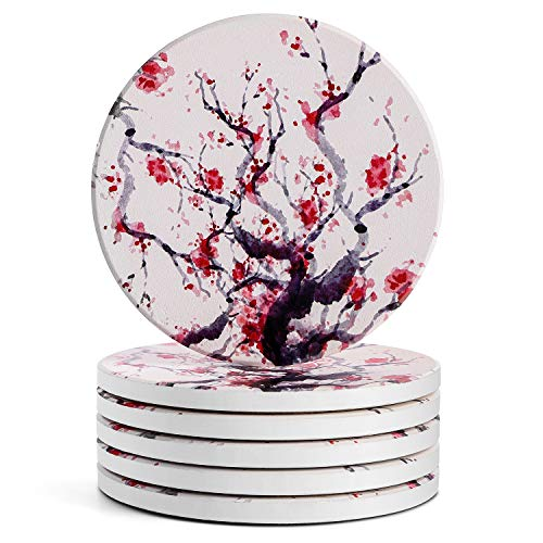 LIFVER Coasters for Drinks Absorbent, Ceramic Drink Coasters Set of 6, Absorbent Coasters with Cork Bottom for Tabletop Protection, Suitable for Kinds of Cups, 4 Inches, Cherry Blossom Style