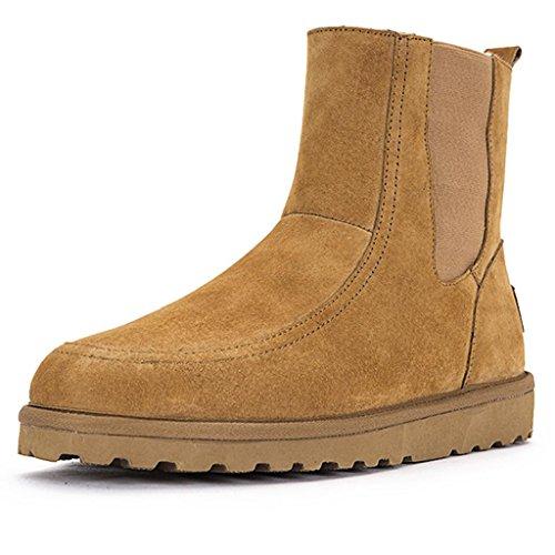 XUANShoe Simples Court Yellow Ronde Bottes Femelle Taille Bottes Haute Aide véritable Grande Bottes Tube Tête Cuir tq0tr