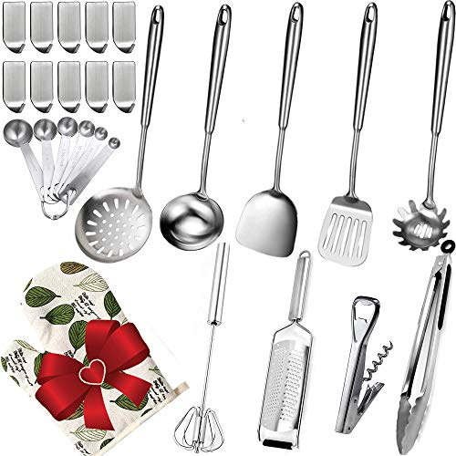 Stainless Steel Cooking Utensils Set – 26 Pcs 304(18/8) Stainless Steel Kitchen Utensils Set with Spatula, Soup Ladle…