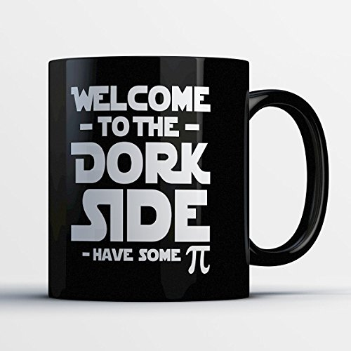 Nerd Coffee Mug - Welcome To The Dork Side - Funny 11 oz Black Ceramic Tea Cup - Cute Nerd Gifts with Nerd Sayings