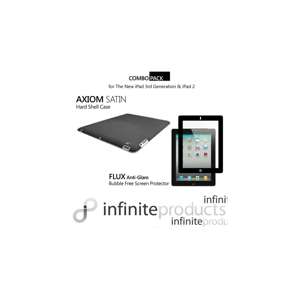 Infinite Products Axiom PC Case & Flux Anti Glare Bubble Free Screen Protector Combo Pack for The New iPad 3 3rd Generation & iPad 2   Combo Pack