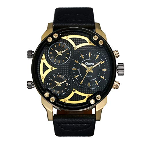 - Avaner Mens Big Face Watches Round Dial 3 Time Zone Analog Display Japanese Quartz Movement Leather Strap Band Wrist Watches