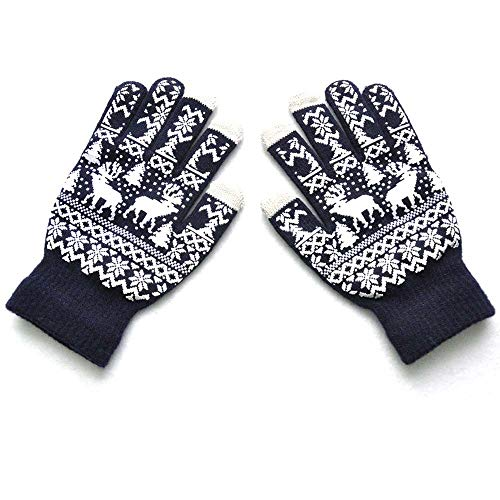 Heated Gloves For Men,Fishing Gloves,Gloves Touchscreen Women,Christmas Gloves,Men Women Christmas Winter Warm Knitted Cute Gloves,Navy,M