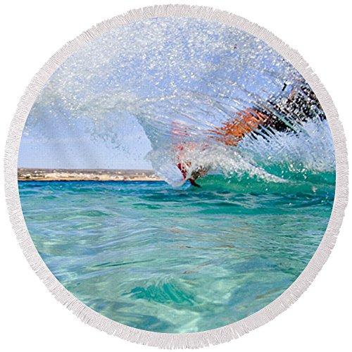 Pixels Round Beach Towel With Tassels featuring ''Kitesurfing'' by Stelios Kleanthous by Pixels