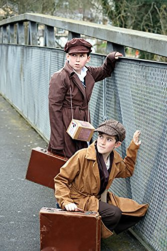 World Book Day Costumes For Boys (1940's-WW2-Wartime TAN EVACUEE BOY INCLUDES, COAT, GAS MASK BOX & CAP World Book Day Fancy Dress (TEEN))